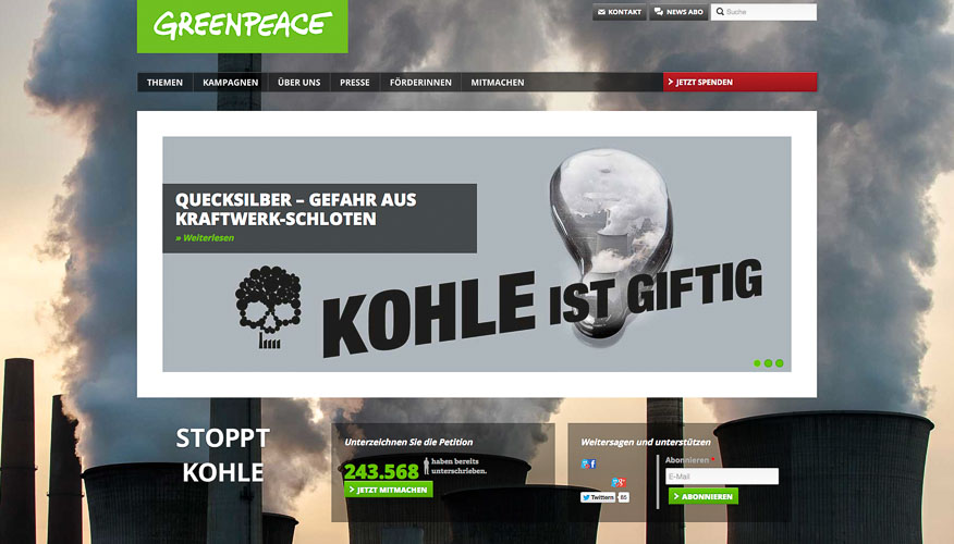 Website greenpeace Koehle ist giftig