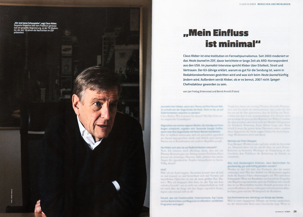 Beleg Magazin Journalist mit dem Interview Claus Kleber
