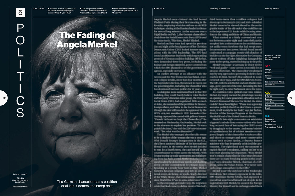 Fotografie Angela Nerkel in Bloomberg Businessweek