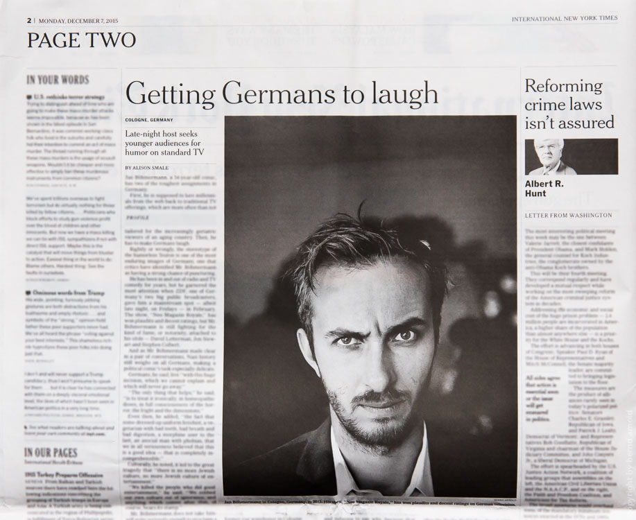 Moderator Jan Böhmermann in der New York Times International